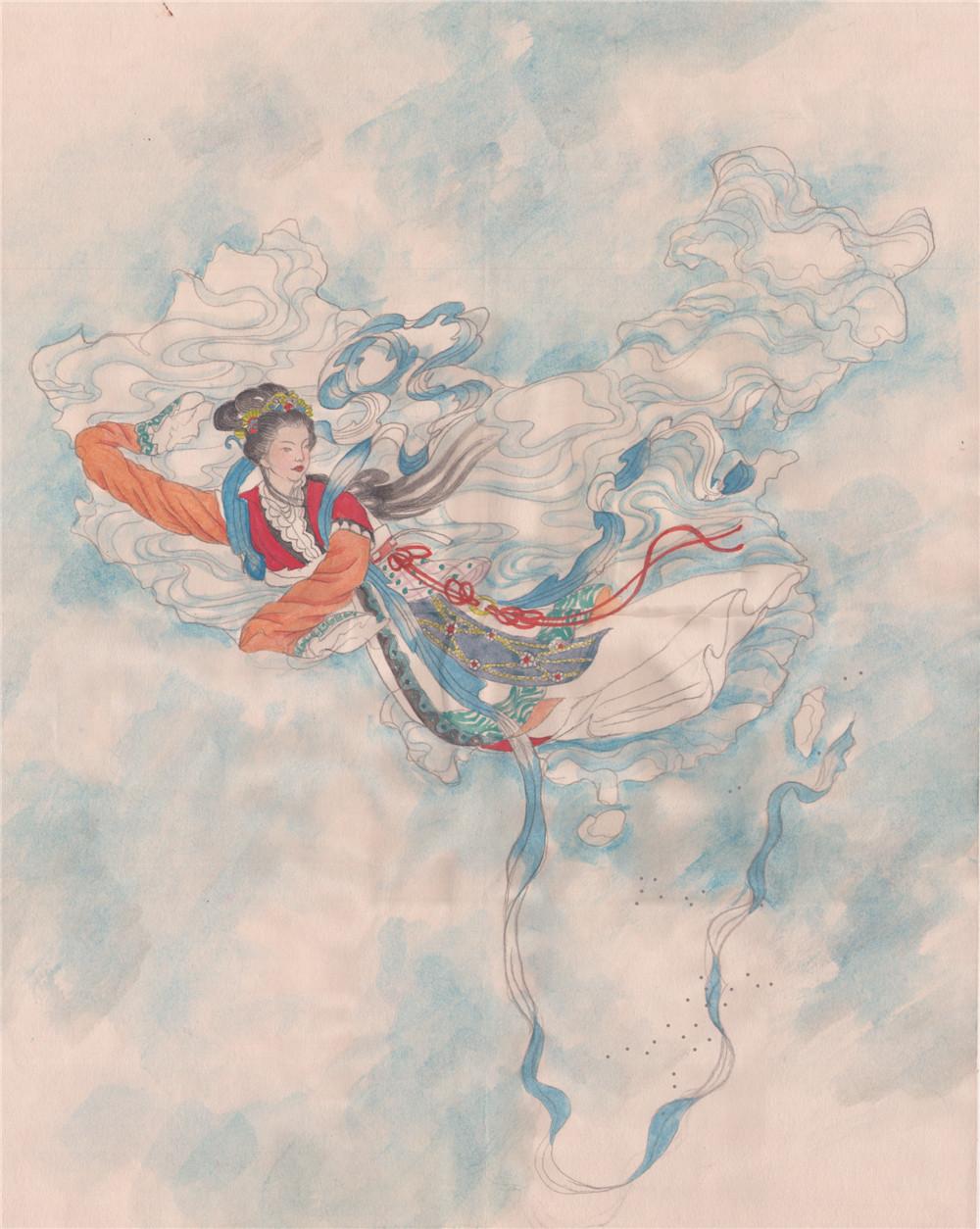 少儿手绘地图欣赏《霓裳中国图》 ,有飞天仙女的感觉.