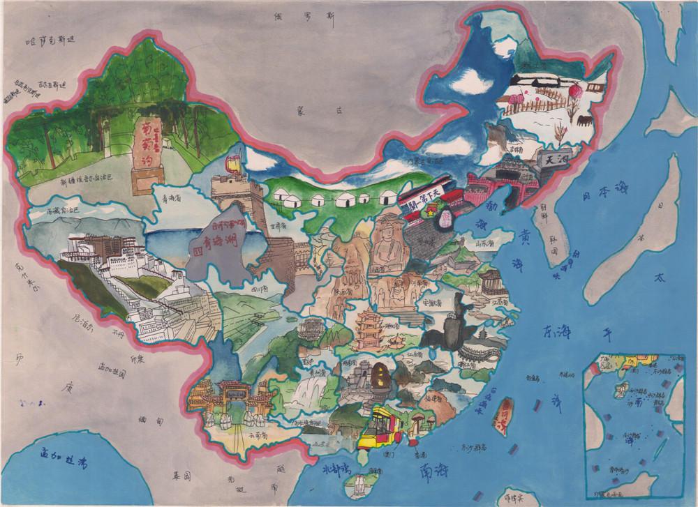 少儿手绘地图欣赏《最美中国》