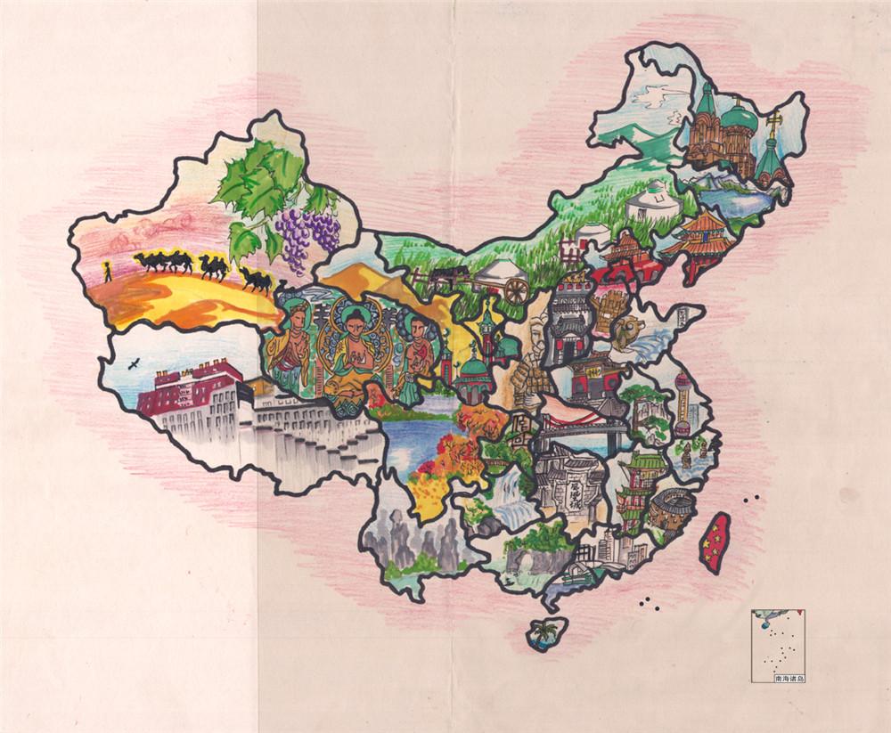 少儿手绘地图欣赏《中国景》