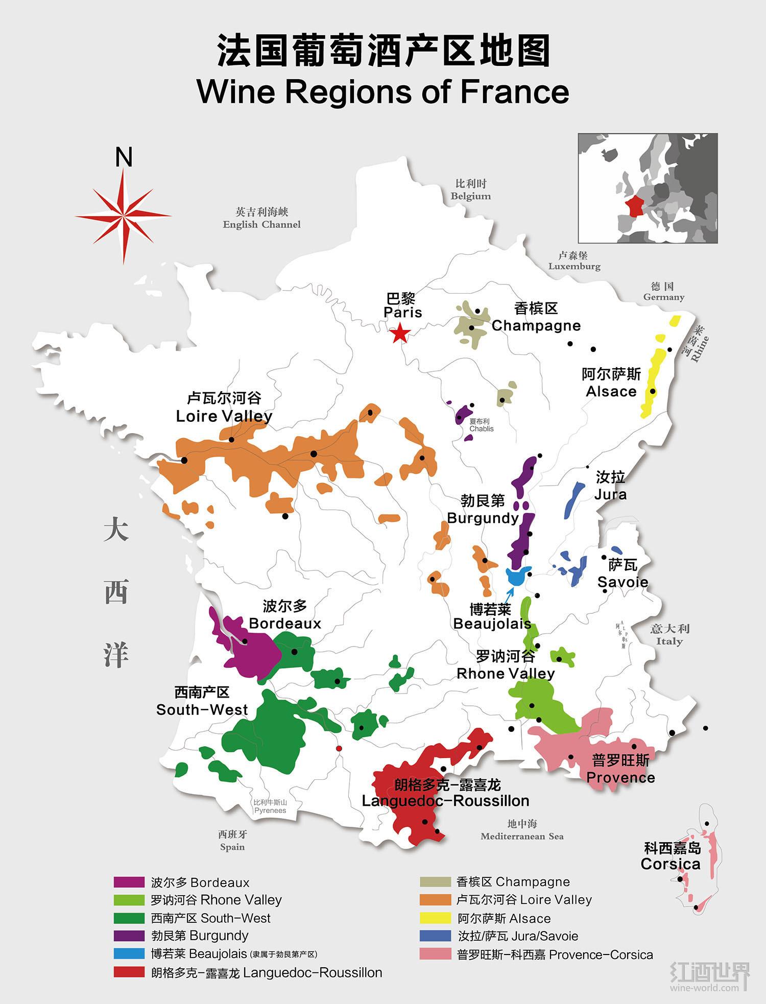 法国十大葡萄酒产区地图 - 地图汇社区 - 看地图,知