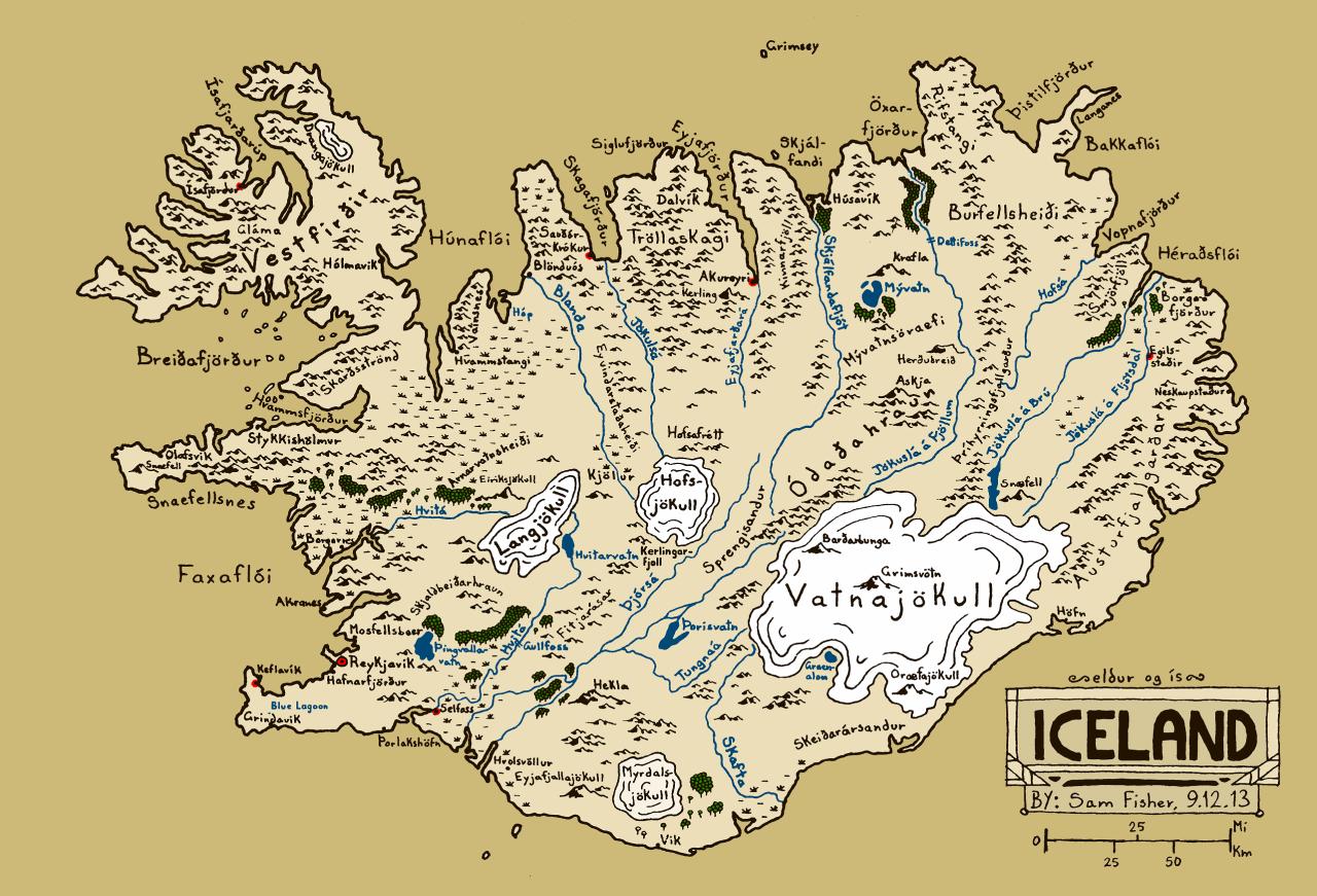 一张梦幻风格的冰岛手绘地图  冰岛地处大西洋中洋脊上,是一个多